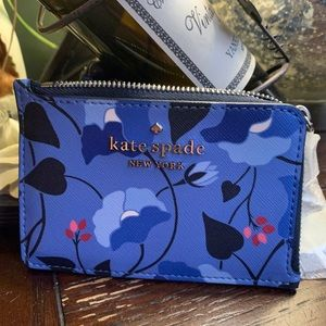 Authentic Kate Spade floral L-Zip card cs/Keychain